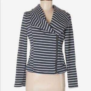 Blue and white striped casual jacket size XL
